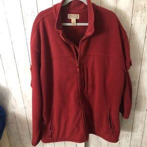 Red full zip fleece jacket 3XLT